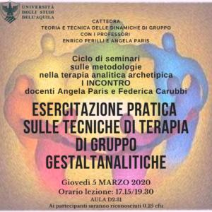 Read more about the article Al via i seminari sulle Metodologie nella Psicologia analitico-archetipica-gestaltica